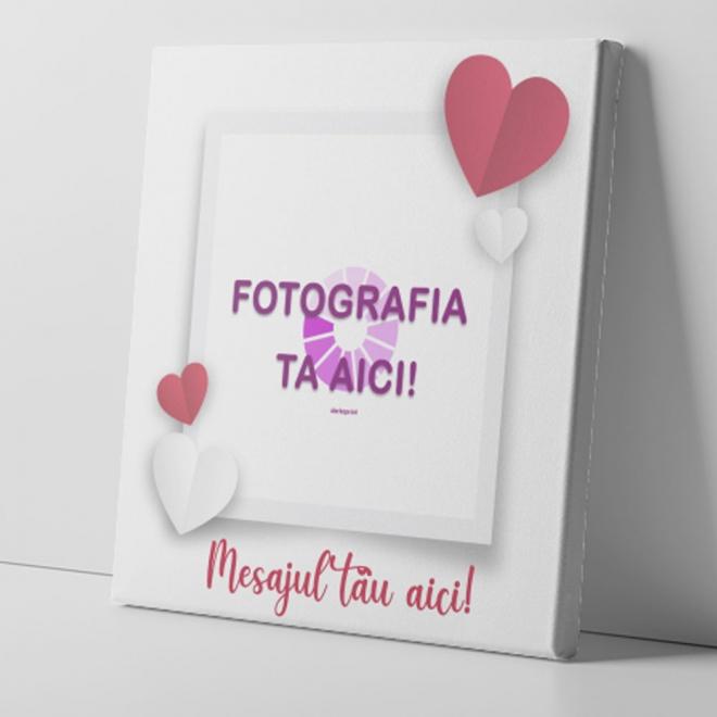 Tablou canvas personalizat 1 fotografie si inimioare 25x25 cm