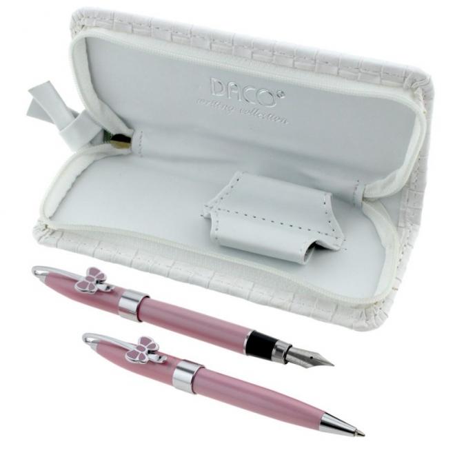 Set cadou pix+stilou roz metalic personalizat