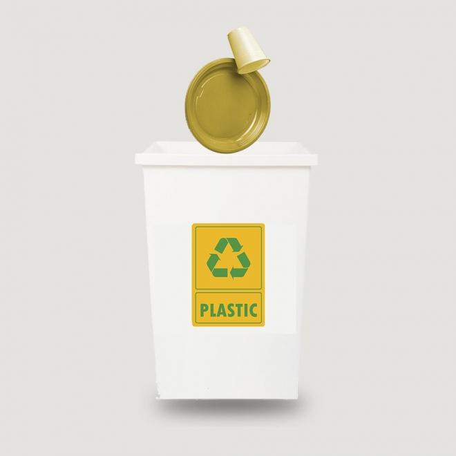 Eticheta autocolant colectare selectiva - PLASTIC - text verde - 21x30 cm