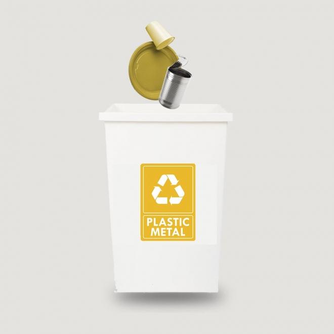 Eticheta autocolant colectare selectiva - PLASTIC METAL - text alb - 21x30 cm