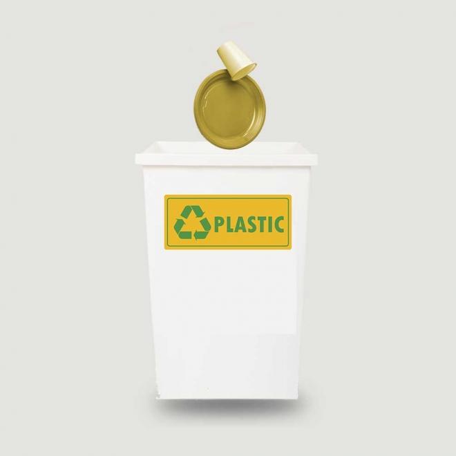 Eticheta autocolant colectare selectiva - PLASTIC - text verde - 30x13 cm