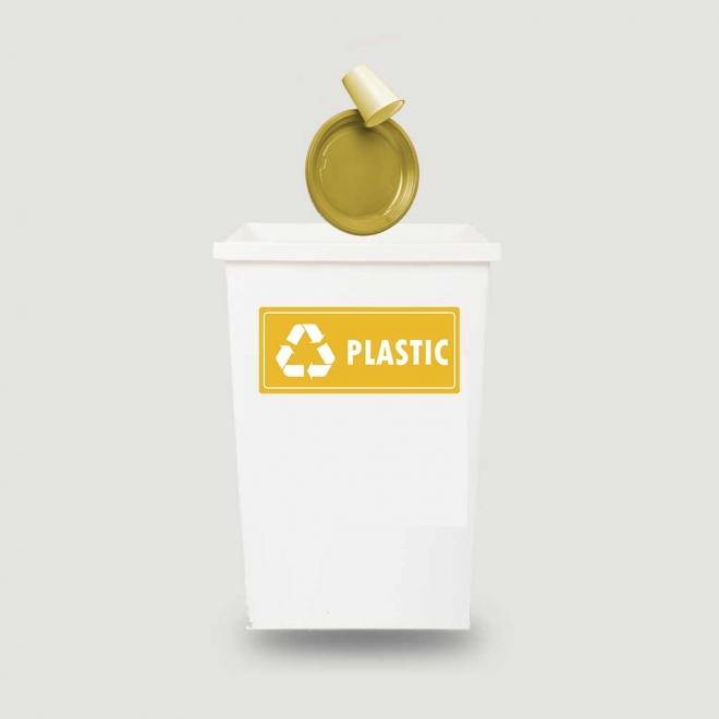 Eticheta autocolant colectare selectiva - PLASTIC - text alb - 30x13 cm