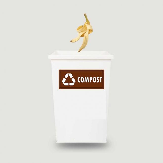 Eticheta autocolant colectare selectiva - COMPOST - 30x13 cm