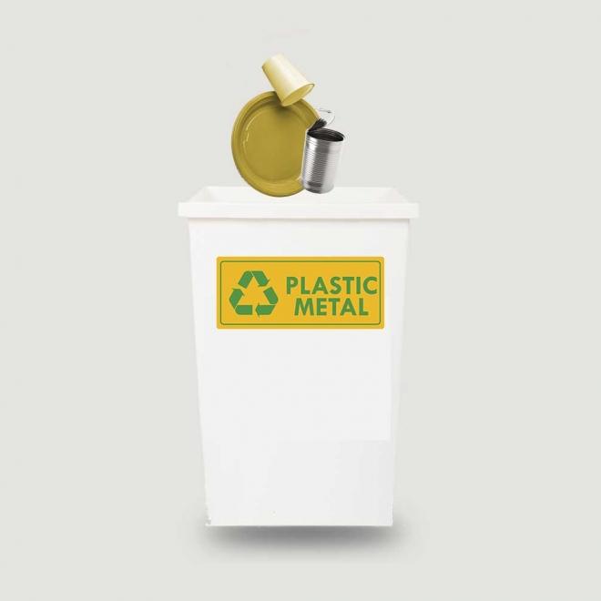 Eticheta autocolant colectare selectiva - PLASTIC METAL - text verde  - 30x13 cm