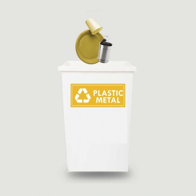 Eticheta autocolant colectare selectiva - PLASTIC METAL - text alb  - 30x13 cm