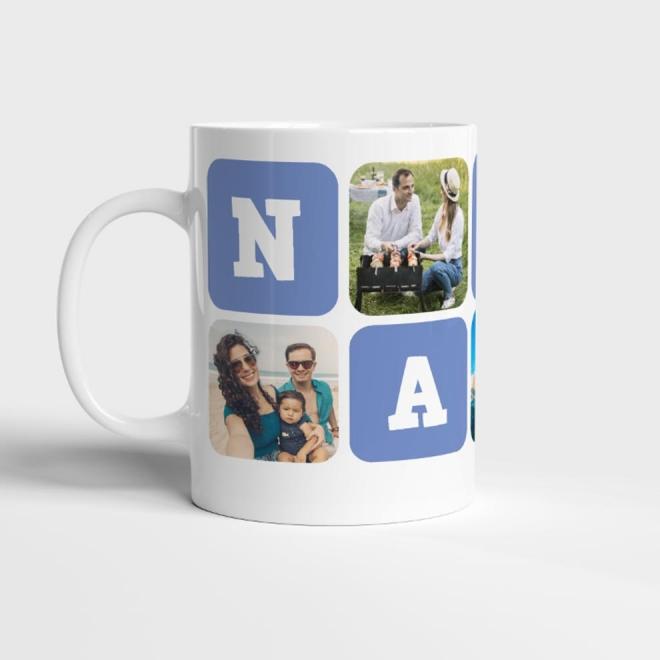 Cana alba personalizata colaj 5 foto + text NASU