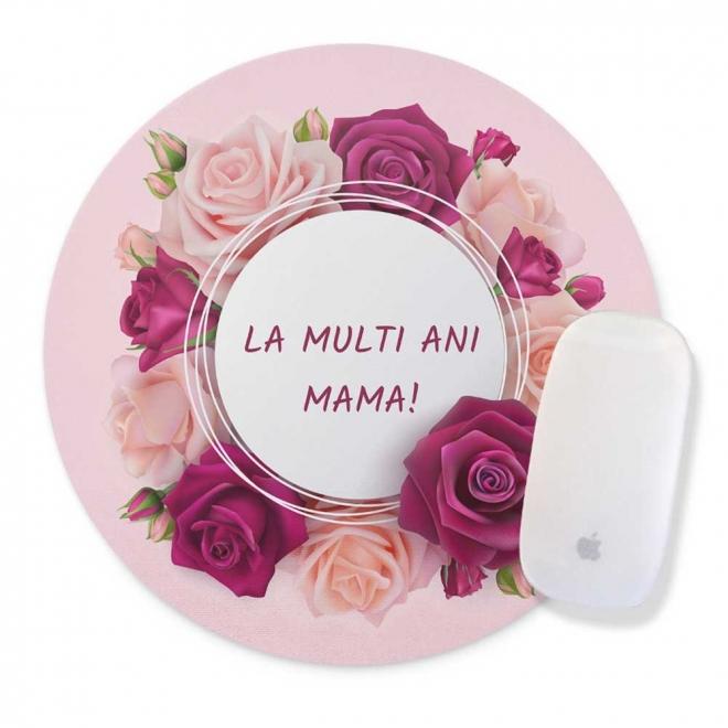 Mouse pad rotund cu trandafiri roz personalizat cu mesaj