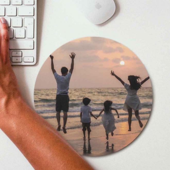 Mouse pad rotund personalizat cu 1 fotografie