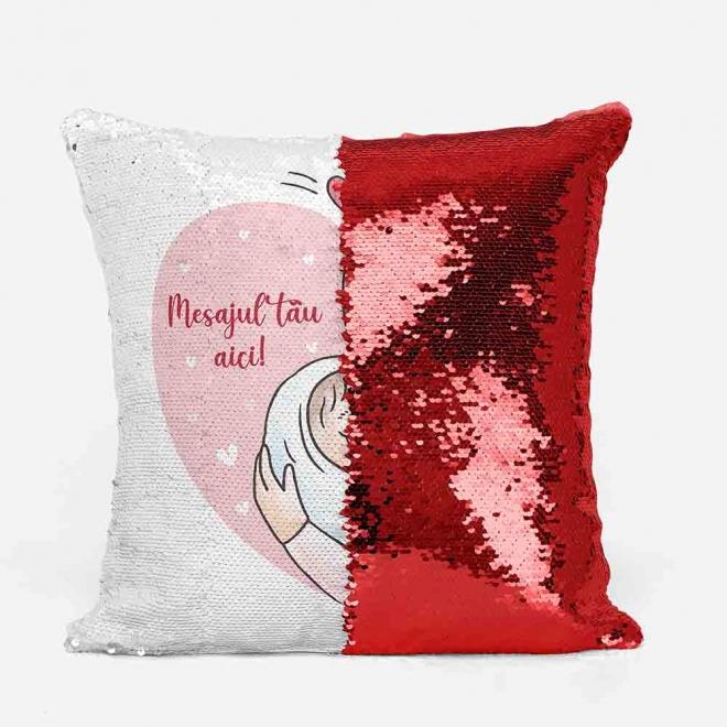 Perna cu paiete rosii, ilustratie mama si copilul + mesaj