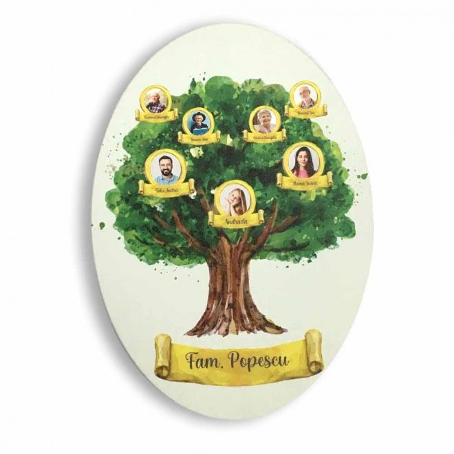 Tablou personalizat oval arbore genealogic 25x35 cm