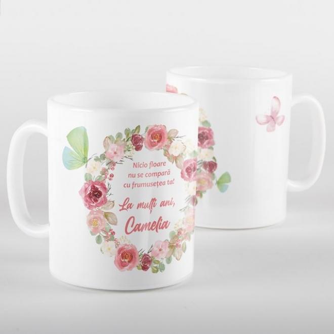 Cana alba personalizata trandafiri roz si text