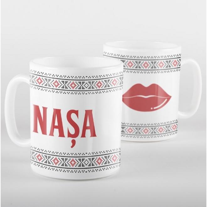 Cana alba personalizata cu motive traditionale - NASA