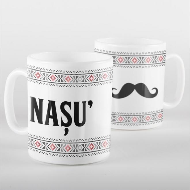 Cana alba personalizata cu motive traditionale - NASU