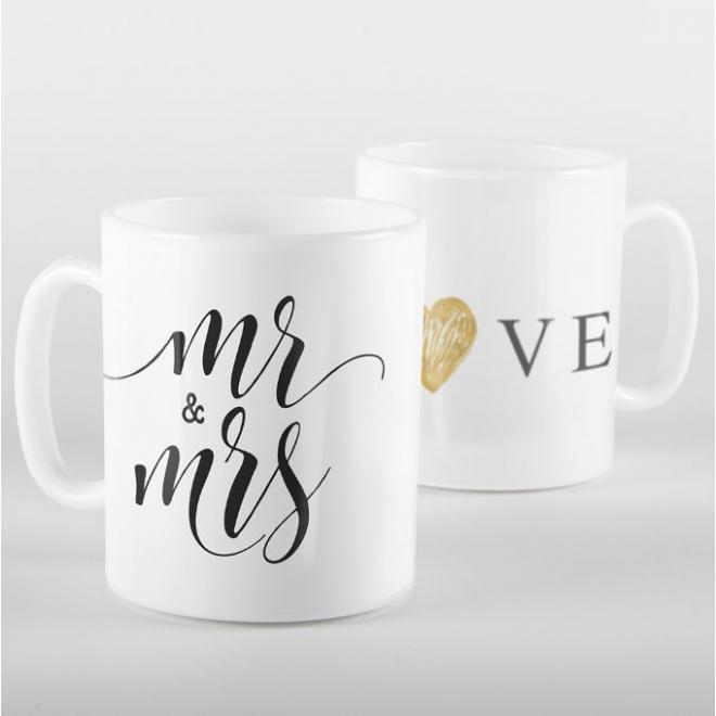 Cana personalizata Mr & Mrs Love
