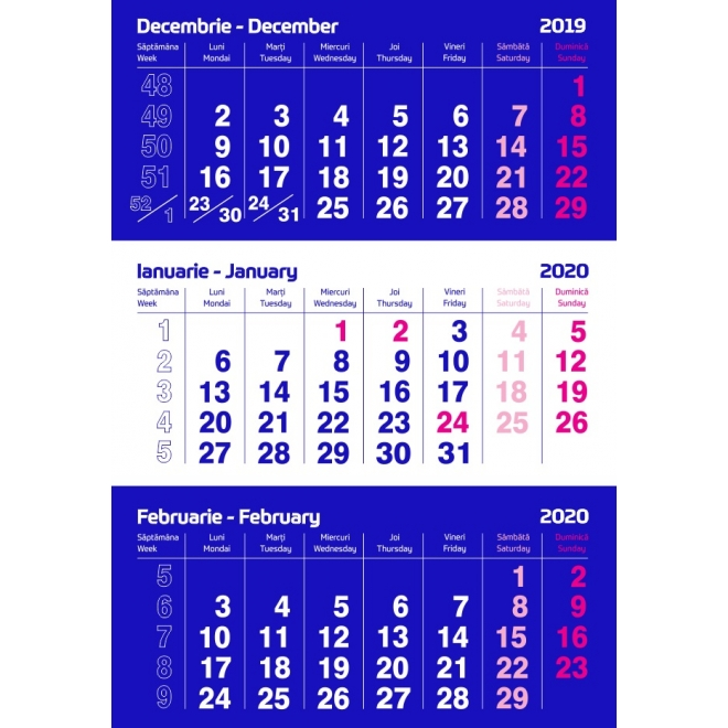 Calendar triptic standard