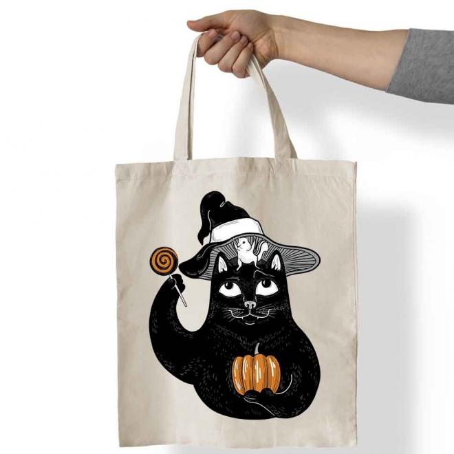 Sacosa bumbac Pisica Neagra