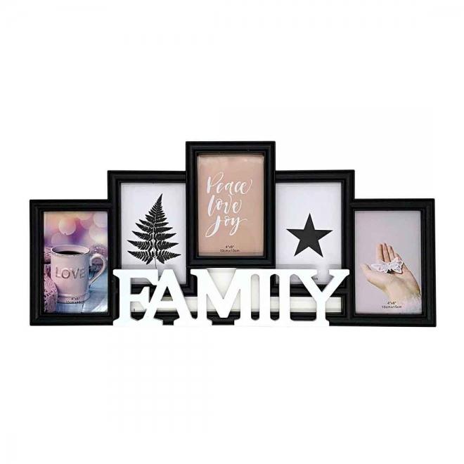 Rama foto colaj neagra FAMILY 5 poze