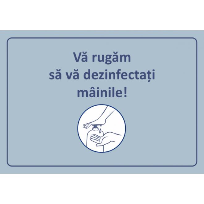 COVID 19 Stiker avertizare dezinfectare maini