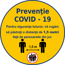 COVID 19 Stiker avertizare pastrare distanta