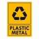 Eticheta autocolant colectare selectiva - PLASTIC METAL - text negru - 21x30 cm