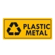 Eticheta autocolant colectare selectiva - PLASTIC METAL - text negru  - 30x13 cm