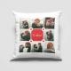 Perna alba patrata personalizata cu 8 fotografii si text