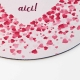 Mouse pad rotund cu mesaj personalizat si inimioare